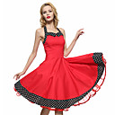 cheap Bluetooth Car Kit/Hands-free-Women's Lace up Party Vintage A Line Dress - Solid Colored / Polka Dot Backless / Pleated Halter Neck All Seasons Cotton Black Red L XL XXL