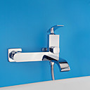 halpa Tekokukat-Nykyaikainen Art Deco/Retro Moderni Vain suihku Laajallle ulottuva Keraaminen venttiili Kaksi reikää Yksi kahva kaksi reikää Kromi,