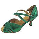 baratos Sapatos de Dança Latina-Mulheres Sapatos de Dança Latina / Sapatos de Salsa Glitter / Camurça Sandália Salto Personalizado Personalizável Sapatos de Dança Verde / Interior / Profissional
