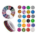 cheap Other Nail Tools-Nail Art Accessories Decorations With 24 Colored Paillettes, 30 Rolls Striping Lines Strips And  Wheel With Rhinestones