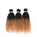 זול שרשרת אופנתית-שיער הודי Kinky Curly / מתולתל לארוג Ombre 3 חבילות 10-26 אִינְטשׁ שוזרת שיער אנושי # T1B -27 תוספות שיער אדם / קינקי קרלי