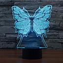 preiswerte Praktische Geschenke-Schmetterling Touch dimmen 3D führte Nachtlicht 7colorful Dekoration Atmosphäre Lampe Neuheit Beleuchtung Licht