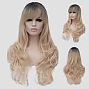 billige Syntetiske parykker uten hette-Syntetiske parykker Bølget Blond Syntetisk hår Blond Parykk Dame Lang Lokkløs Blond