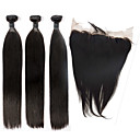 cheap One Pack Hair-Indian Hair Straight Virgin Human Hair Hair Weft with Closure Human Hair Weaves Human Hair Extensions