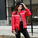 cheap Tents, Canopies & Shelters-Women's Patchwork Blue / Red / White / Black Padded Coat,Street chic Round Neck Long Sleeve