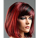cheap Synthetic Capless Wigs-Synthetic Wig Women's Straight Red Bob / With Bangs Synthetic Hair Highlighted / Balayage Hair / Side Part Red Wig Short Fuxia