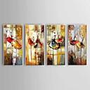 baratos Laminado Impressão De Canvas-Pintura a Óleo Pintados à mão - Abstrato Clássico / Pastoril / Modern Com Moldura / 4 Painéis / Lona esticada
