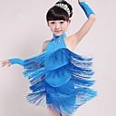 billige Dansetøj til børn-Latin Dans Dragter Ydeevne Spandex Kvast Uden ærmer Naturlig Kjole