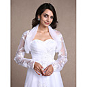 cheap Wedding Wraps-Long Sleeves Lace Organza Wedding Party Evening Casual Women's Wrap With Lace Shrugs