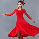 お買い得  ソシアルダンスウェア-ボールルームダンス ドレス 女性用 性能 チュール プロミックス フリル 長袖 ナチュラルウエスト ドレス
