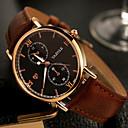 baratos Relógio Elegante-YAZOLE Homens Relógio de Pulso Relógio Casual / / Couro Legitimo Banda Casual / Relógio Elegante Preta / Marrom / SSUO 377