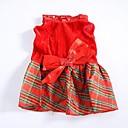 voordelige Pet Christmas Costumes-Hond Jurken Hondenkleding Geruit Katoen Kostuum Voor huisdieren Dames Modieus Kerstmis
