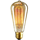 abordables Bombillas LED-1pc 40W E26 / E27 ST64 Blanco Cálido 2300k Retro Regulable Decorativa Bombilla incandescente Vintage Edison 220-240V