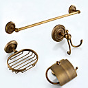 cheap Drains-Bathroom Accessory Set Antique Brass 4pcs - Hotel bath soap dish / tower bar / Robe Hook