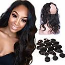 baratos Spinners de mão-4 pacotes Cabelo Brasileiro 360 Frontal / Onda de Corpo Cabelo Virgem Trama do cabelo com Encerramento Tramas de cabelo humano Extensões de cabelo humano