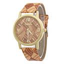 preiswerte Modische Uhren-Damen Armbanduhr Quartz Armbanduhren für den Alltag / Leder Band Analog Freizeit Modisch Holz Mehrfarbig - Kaffee Braun Khaki
