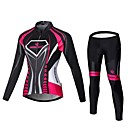 cheap Permanent Makeup Kits-Malciklo Women's Long Sleeve Cycling Jersey with Tights - Black / Pink Bike Jersey / Bib Tights / Clothing Suit, Breathable, 3D Pad, Quick Dry Velvet, Lycra Vertical Strips / High Elasticity