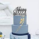 abordables Decoraciones de Pastel-Decoración de Pasteles Tema Clásico Monograma Acrílico Cumpleaños con Flores 1 Caja de Regalo