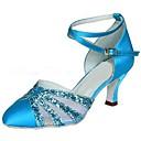 preiswerte Modische Ohrringe-Damen Schuhe für den lateinamerikanischen Tanz / Schuhe für modern Dance Glitzer / Satin Sandalen / Absätze Glitter / Schnalle Maßgefertigter Absatz Maßfertigung Tanzschuhe Blau / Innen