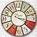 baratos Relógios de Parede Rústicos-Moderno/Contemporâneo Família Relógio de parede,Redonda Madeira 34*34*3cm Interior Relógio