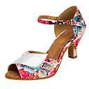 abordables Tacones de Mujer-Mujer Zapatos de Baile Latino / Zapatos de Salsa Brillantina / Satén Sandalia / Tacones Alto Purpurina / Hebilla / Flor Tacón Personalizado Personalizables Zapatos de baile Rosa / Interior