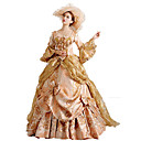 cheap Historical & Vintage Costumes-Rococo Victorian Costume Women's Dress Party Costume Masquerade Red / Golden Vintage Cosplay Lace Cotton Long Sleeve Poet Sleeve Floor Length Long Length Ball Gown / Floral