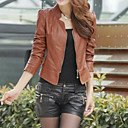 cheap Wedding Wraps-Women's Chic & Modern Leather Jacket - Solid Colored, Formal Style V Neck / Spring