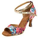 abordables Zapatos de Baile Latino-Mujer Zapatos de Baile Latino / Zapatos de Salsa Satén Sandalia / Tacones Alto Interior / Profesional Hebilla / Flor Tacón Personalizado