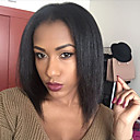 billige Blondeparykker med menneskehår-Ekte hår U-del Parykk Rett / Kinky Glatt Parykk 130% Naturlig hårlinje / Afroamerikansk parykk / 100 % håndknyttet Dame Kort / Medium / Lang Blondeparykker med menneskehår