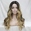 cheap Human Hair Capless Wigs-Synthetic Lace Front Wig Wavy Middle Part Black / Grey Black / Blonde Dark Brown / Golden Blonde Synthetic Hair Women's Heat Resistant / Ombre Hair / Dark Roots Dark Brown Gold Blonde Ombre Wig Long