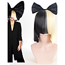 cheap Prints-halloween party online sia alive this is acting half black blonde short wig with bowknot accessory costume cosplay wig