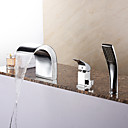 preiswerte Duschvorhänge-Badewannenarmaturen - Moderne Chrom Romanische Wanne Keramisches Ventil Bath Shower Mixer Taps / Messing / Einhand Drei Löcher