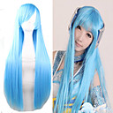 cheap Videogame Cosplay Wigs-cheap 80cm long length light blue silky miku cosplay lolita wigs Halloween