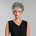 お買い得  人工毛キャップレスウィッグ-人間の毛のキャップレスウィッグ 人毛 カール ピクシーカット / バング付き サイドパート ショート かつら 女性用
