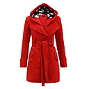 cheap Cake Molds-Women's Chic & Modern Plus Size Trench Coat-Solid Colored,Classic Style