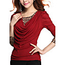 cheap Jewelry Sets-Women's Going out Street chic Plus Size T-shirt - Leopard / Patchwork / Spring / Fall