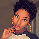 cheap Human Hair Capless Wigs-Human Hair Capless Wigs Human Hair Kinky Curly Pixie Cut African American Wig / For Black Women Short Wig Women's