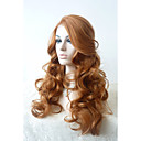cheap Synthetic Lace Wigs-Synthetic Lace Front Wig Curly With Bangs Synthetic Hair Natural Hairline / Side Part Brown Wig Women's Long Lace Front