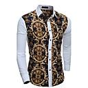 cheap Kitchen Tools-Men's Cotton Slim Shirt - Geometric Patchwork Classic Collar / Long Sleeve