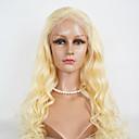 billige Nøkkelringer-Ekte hår Blonde Forside Parykk Brasiliansk hår Krop Bølge Parykk 130% Hair Tetthet med baby hår Naturlig hårlinje Afroamerikansk parykk 100 % håndknyttet Dame Medium Lengde Lang Blondeparykker med