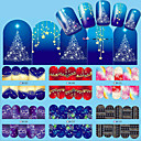 billige Christmas Nail Art-12 pcs Vannoverføringsklistre Neglekunst Manikyr pedikyr Mote Daglig
