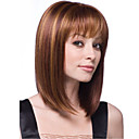 cheap Synthetic Capless Wigs-Synthetic Wig Women's Straight With Bangs Synthetic Hair Wig Chestnut Brown Dark Blonde