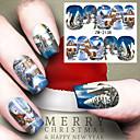 abordables Nail Art de Navidad-1 pcs Etiqueta engomada de la transferencia arte de uñas Manicura pedicura Moda Diario