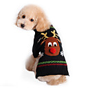 cheap Pet Christmas Costumes-Cat Dog Sweater Dog Clothes Reindeer Black Cotton Costume For Pets Men's Women's Cute Holiday Christmas