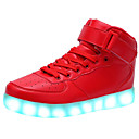 cheap Women's Sneakers-Unisex Shoes Leather Spring Fall Light Up Shoes Comfort Sneakers Walking Shoes Low Heel Round Toe Lace-up for Athletic Casual Outdoor