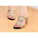 baratos Sandálias Femininas-Mulheres Sapatos Gliter / Couro Ecológico Verão Chanel Sandálias Caminhada Salto Robusto Dedo Apontado / Dedo Aberto Gliter com Brilho