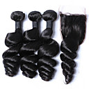 cheap One Pack Hair-3 bundles 12 26 malaysia virgin hair weft loose wave with 1pcs free middle part lace closure natural black hair weaves