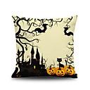 voordelige Halloweenfeestartikelen-1 stk Linnen Kussenhoes, Grafische prints Decoratief