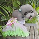 baratos Roupas para Cães-Gato Cachorro Vestidos Roupas para Cães Flor Verde Rosa claro Tecido Ocasiões Especiais Para animais de estimação Mulheres Fofo Fashion