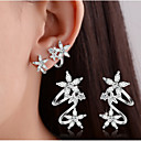 cheap Earrings-Women's Crystal / Synthetic Diamond Stud Earrings / Clip Earrings - Sterling Silver Leaf, Heart, Flower Basic, Double-layer Gold / Silver For Wedding / Party / Daily